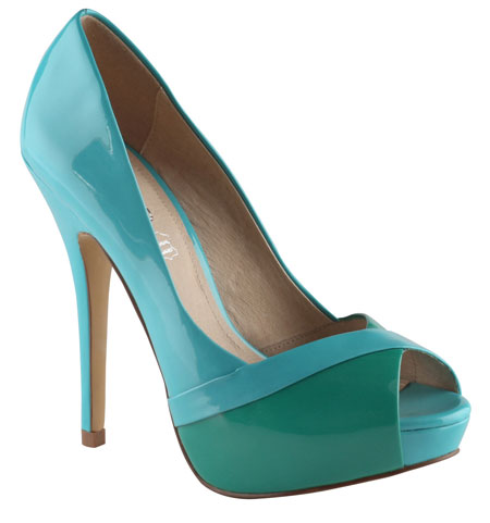 green and blue two-tone shoes