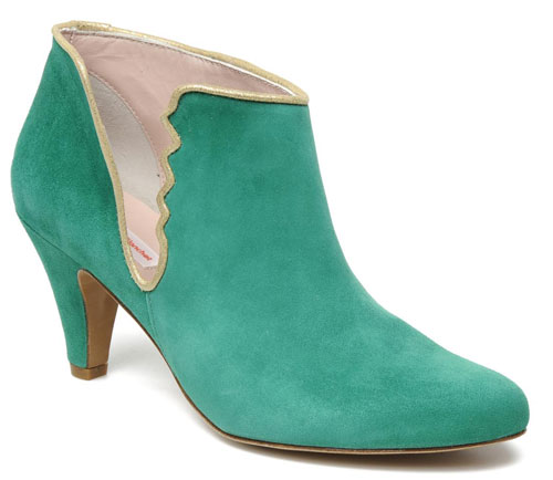 green suede ankle boots with gold trim