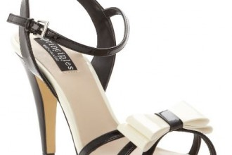 black and white bow sandals
