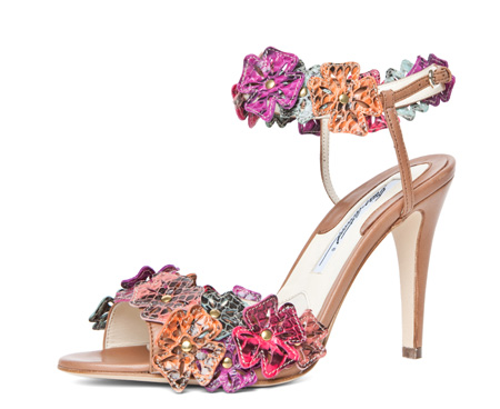 flower sandals in snake print