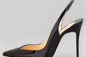 black pointed toe slingbacks by Christian Louboutin