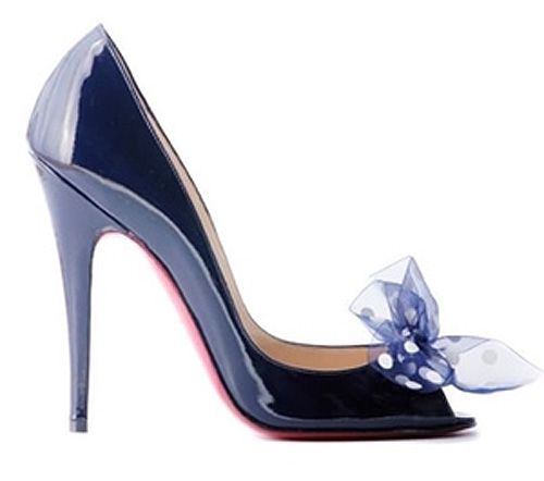 blue Christian Louboutin peep toes with bow