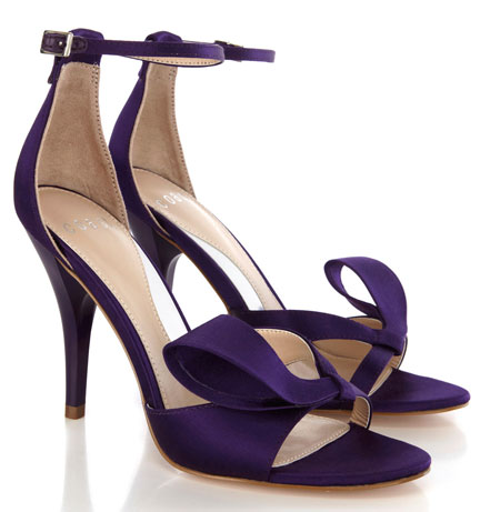 purple satin sandals with bow