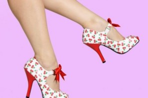 white mary jane shoes with cherry print and bow