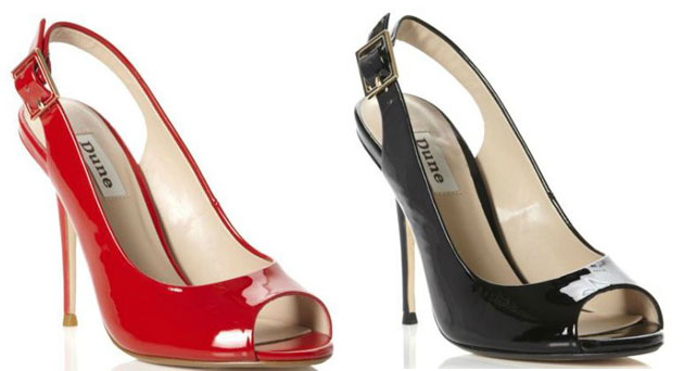 red and black patent slingback shoes