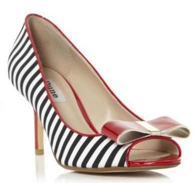striped bow peep toes