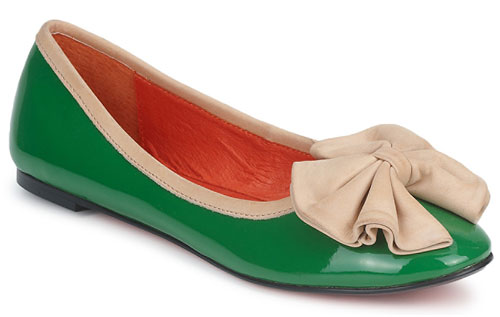 green ballet flats with cream bow