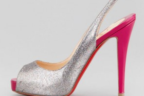 silver glitter slingback with red high heel