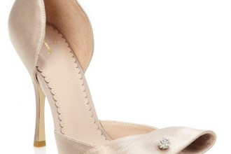 gold satin peep toes