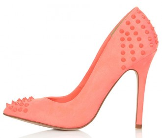 coral pumps with studs on heel and toe
