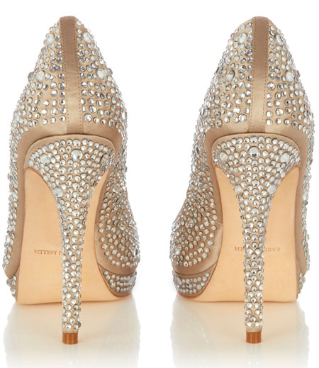 crystal embellished high heel shoes