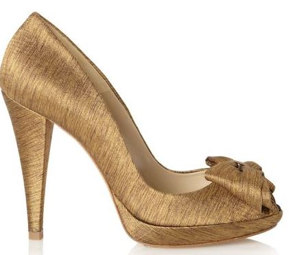 gold high heel shoes with peep toe and bow