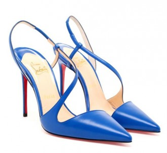 Christian Louboutin blue strappy shoes