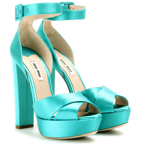turquoise satin high heels