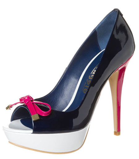 navy patent shoes with pink heel and white platform
