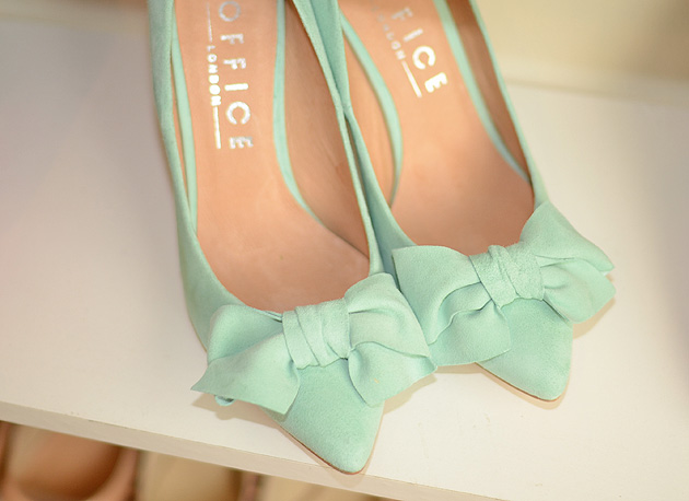 mint shoes with bow