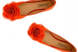 bruight orange ballet flats with flower detail