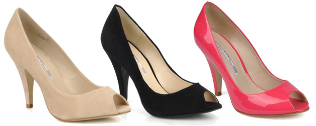 three pairs of peep toe shoes