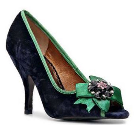 navy peep toes with green bow