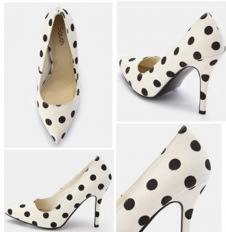 white pointed toe shoes with polka dots