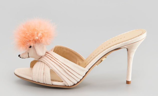 shoes with fluffy poodle head embellishment