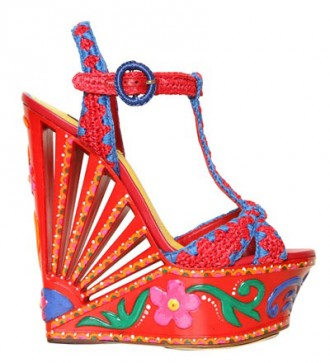red raffia platform wedges