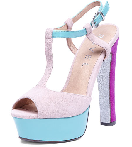 pink, blue and purple platform sandals