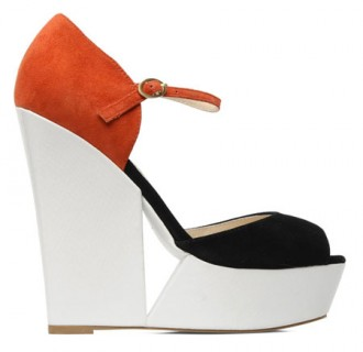 Ravel red white and black platform wedges