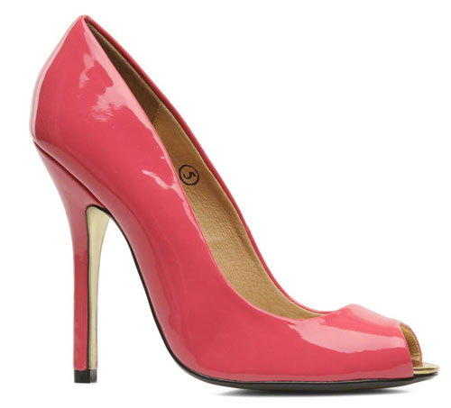 pink patent peep toes