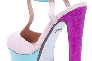 platform sandals with purple heels and blue platfform