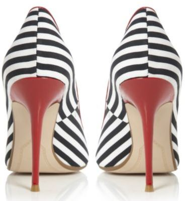 stripe shoes with red heels