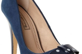 navy pumps with polka dot platform and bow