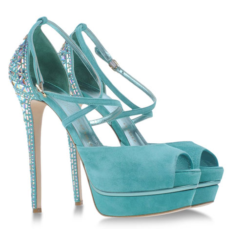 turquoise strappy sandals with embellished heels