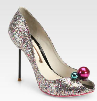 silver glitter shoes with bauble embellishment
