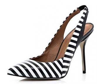 black and white stripe slingbacks