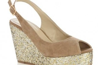 tan suede wedges with gold glitter platforms