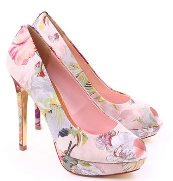 floral print peep toe shoes