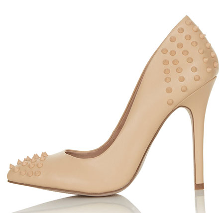 nude pumps with studs on heel and toe