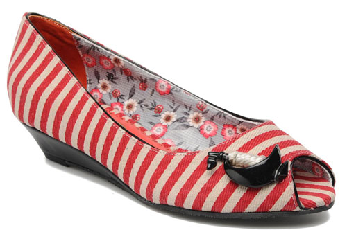 red and white stripe shoes with anchors