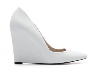 white wedges with pointed toes