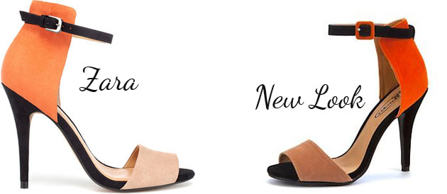 colurblock sandals by Zara and New Look