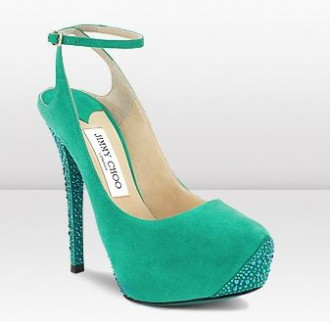Jimmy Choo green suede shoes with crystal heel