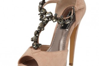 nude t-bar sandals with jewelled strap