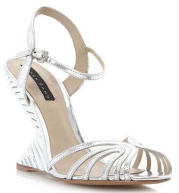 Dune 'Babes' silver curve heel sandals