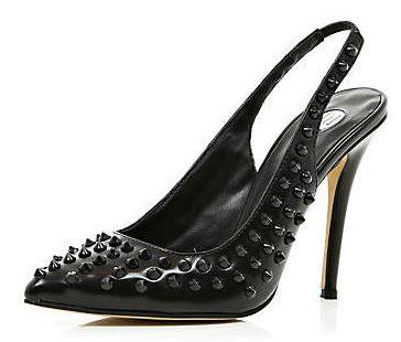 black studded slingbacks