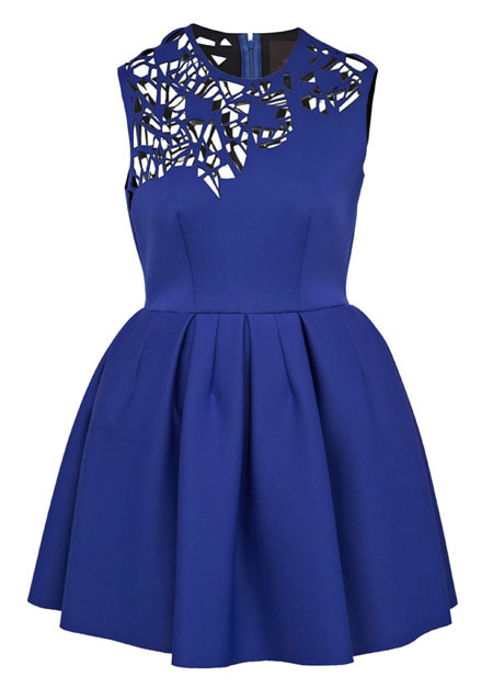 blue dress with laser cut bodiice