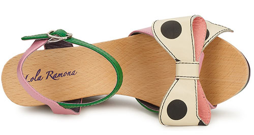 wedge sandals with stripe heel and polka dot bow