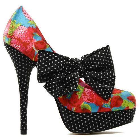 strawberry print platform shoes with bows