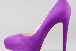 purple high heel pumps