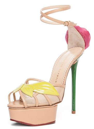 platform sandals with rose detail